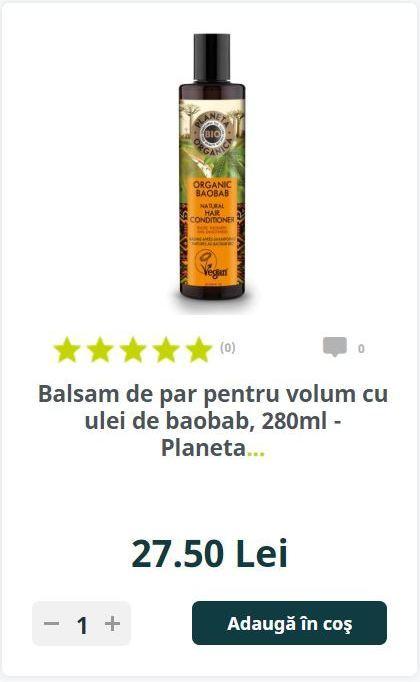 Balsam de par pentru volum cu ulei de baobab, 280ml - Planeta..
