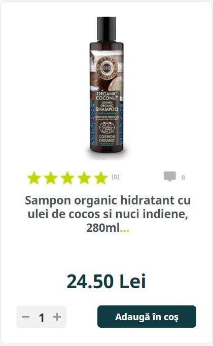 Sampon organic hidratant cu ulei de cocos si nuci indiene, 280ml.