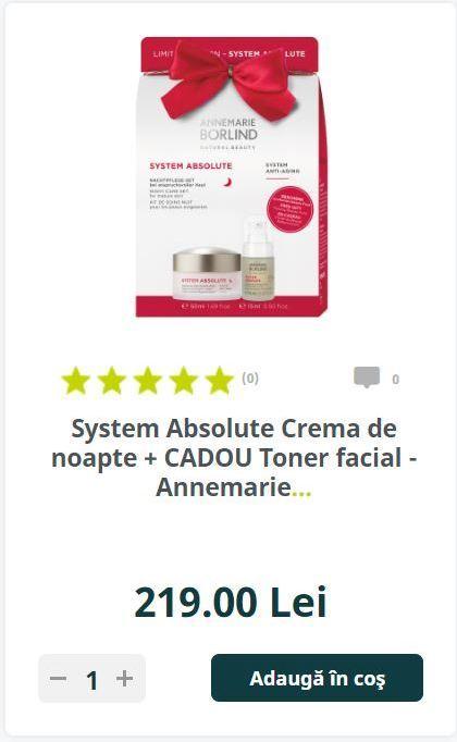 System Absolute Crema de noapte + CADOU Toner facial - Annemarie