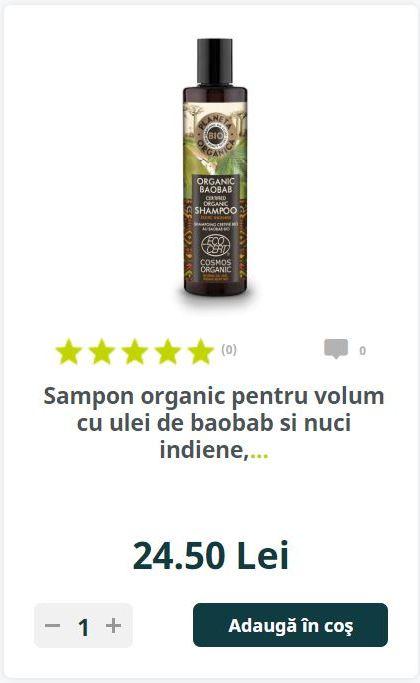 Sampon organic pentru volum cu ulei de baobab si nuci indiene,.
