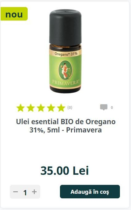 Ulei esential BIO de Oregano 31%, 5ml - Primavera