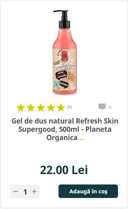 Gel de dus natural Refresh Skin Supergood, 500ml - Planeta Organica