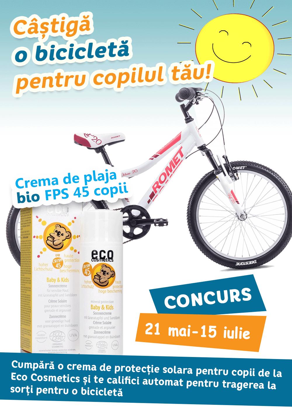 Bicicleta de vară cu protecție solară
