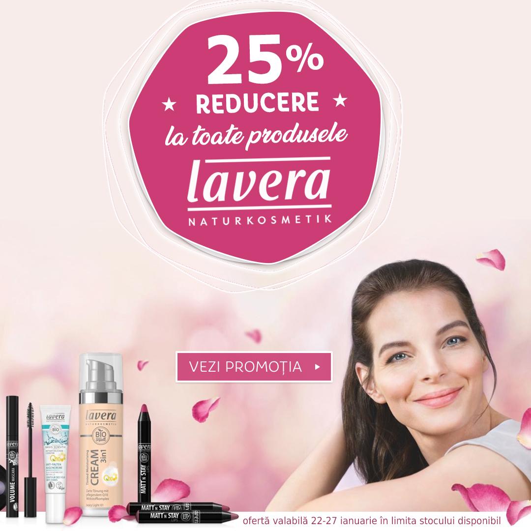 Profită acum de reduceri de -25% la toate produseleLavera. Ofertă valabilă până pe 27 ianuarie . Stocuri limitate