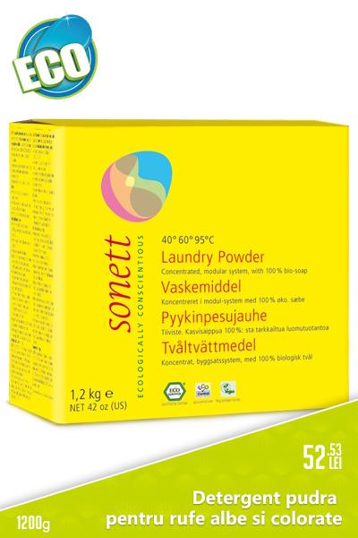 Detergent pudra pentru rufe albe si colorate, 1.2 kg - Sonett