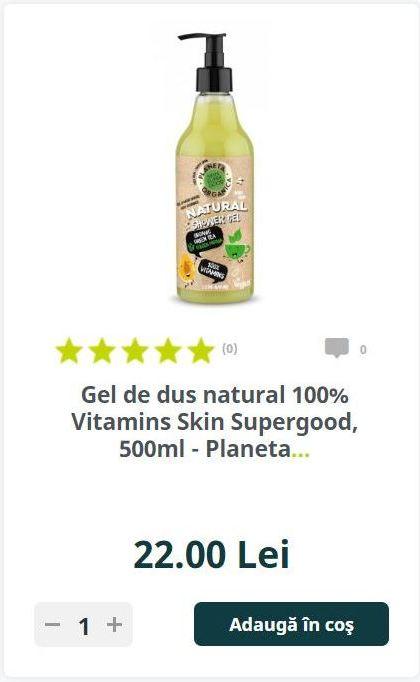Gel de dus natural 100% Vitamins Skin Supergood, 500ml - Planeta.