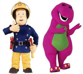 Barney and Fireman Sam