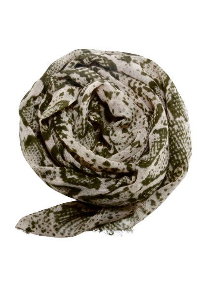 Snake print scarf in army green