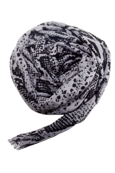 Snake print scarf in black and grey