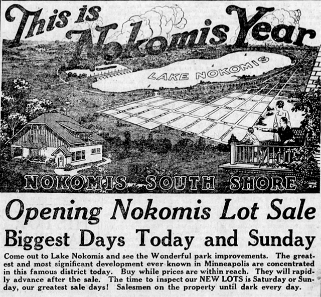 """vintage newspaper clipping showing the words """"This is Nokomis Year"""" with an image of lake nokomis and housing lots for sale."""
