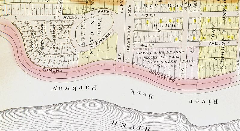 Edmund Blvd featured on an old street map of Minneapolis.