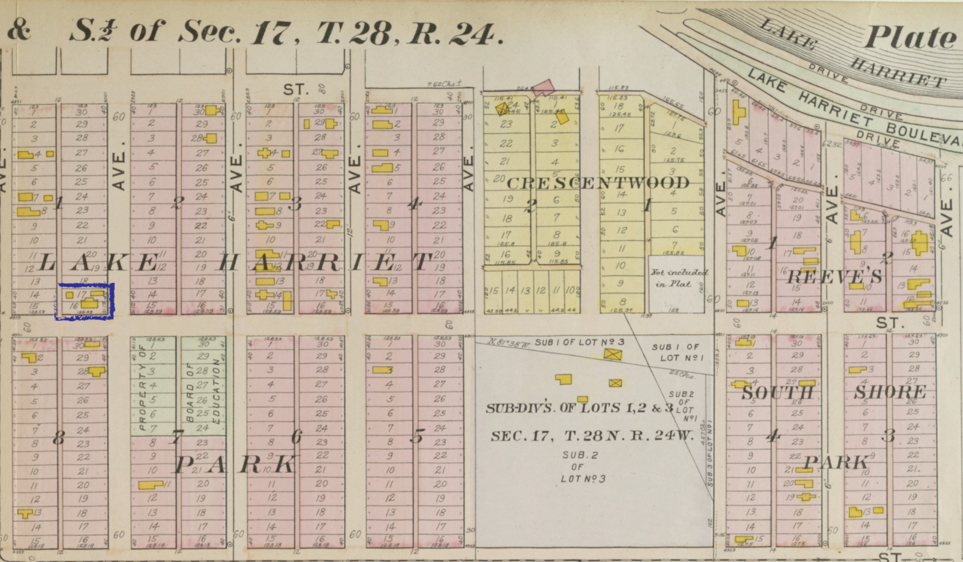 This page from the 1914 atlas of Minneapolis outlines the footprint of the house, barn and chicken coop built by Mary and Moses Burkes at the corner of 49th and Washburn Avenue South.