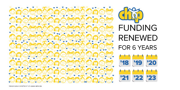 Pattern is made up of doodles of children's faces. Text says: CHIP funding renewed for 6 years.