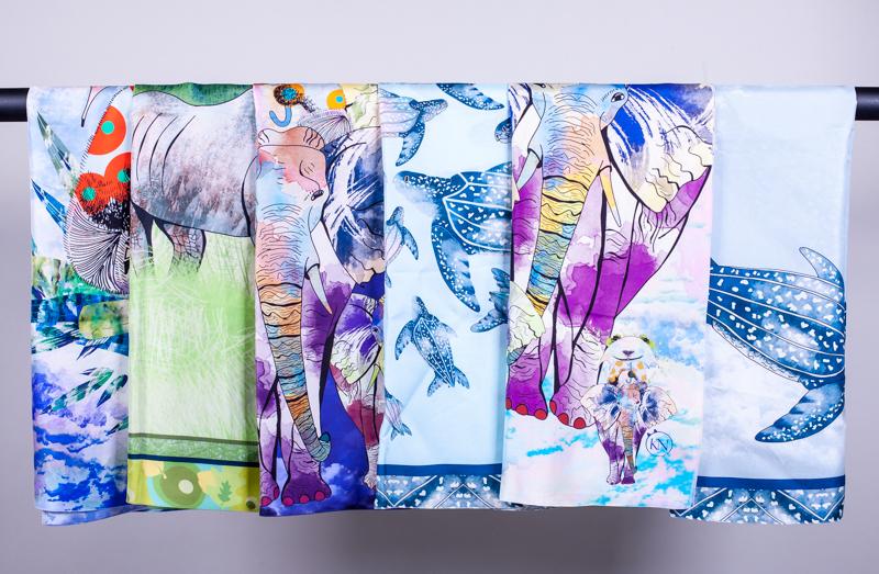 endangered species silk scarves