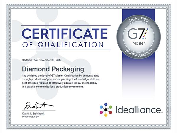 Diamond Packaging Achieves Idealliance G7 Master Qualification