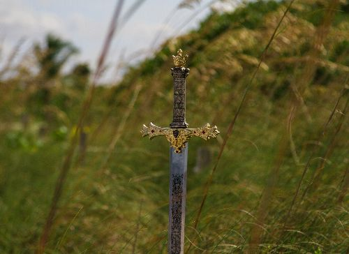a sword with a gilt gold handle sticking straight up in a field, abandoned