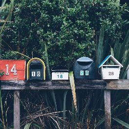 5 quirky and eccentric mailboxes on a horizontal post, surrounded by lush vegetation