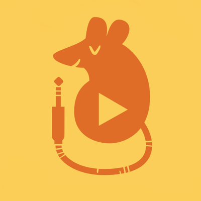 PodTales logo; a small mouse with a headphone jack for a tale and a play button in its center