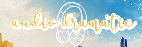 "The words ""Audio Dramatic"" on top of the logo, of a pair of headphones with a pen across them, against a sparkly daytime sky with peeks of skyscrapers at the bottom edge"