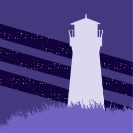The Far Meridian logo; purple tones, a lighthouse shadow on a grassy hill against a starry sky revealed through purple slashes.