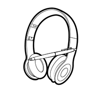 Logo, of a pair of headphones with a pen laying across them.
