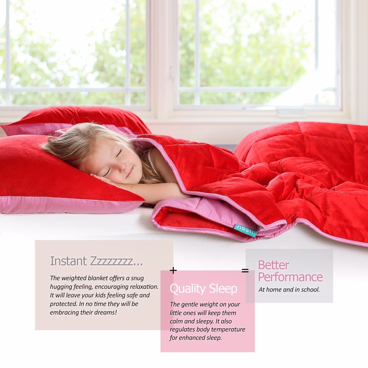 child sleeping under weighted blanket the Camellia Thunder Bay