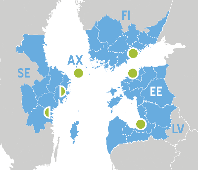 The location of the national Central Baltic Contact Points