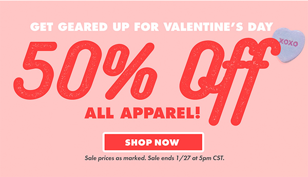 Shop 50% off apparel!