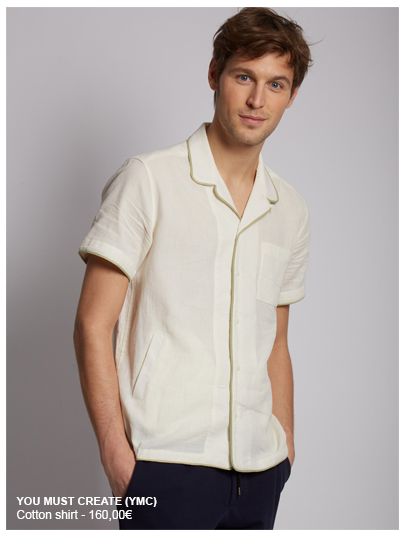 YOU MUST CREATE cotton shirt. Tailored collar, short sleeves. 3 pockets, contrasting edging.