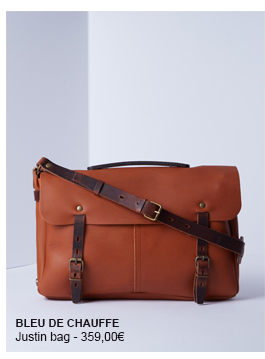BLEU DE CHAUFFE Justin messenger bag, designed by hand, in a full-grain leather with vegetable tanning. Its form recalls the postman bag : big front pocket with large flap, tightening straps, a handle to be hand carried, a large removable shoulder.
