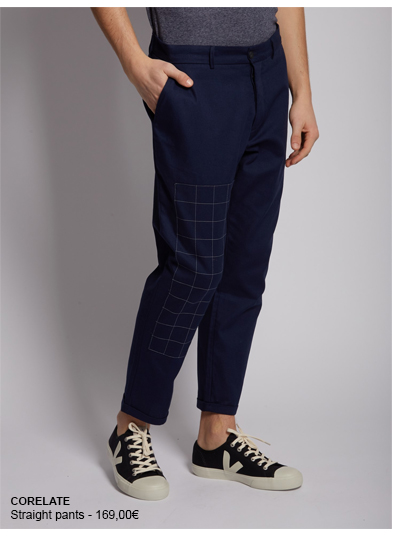 CORELATE straight pants. Squared-print on the right leg. 4 pockets. Buttoned and zip closure.