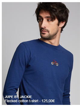 JUPE BY JACKIE flecked cotton t-shirt. Round neck, long sleeves. Embroidered bike on the chest
