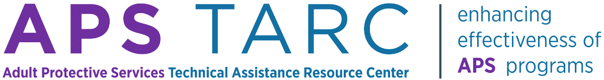 """Adult Protective Services Technical Assistance Resource Center logo with tagline """"enhancing the effectiveness of APS programs""""."""