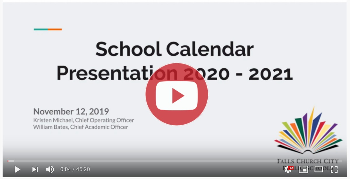 Video of the School Board's Calendar presentation 2020-2021