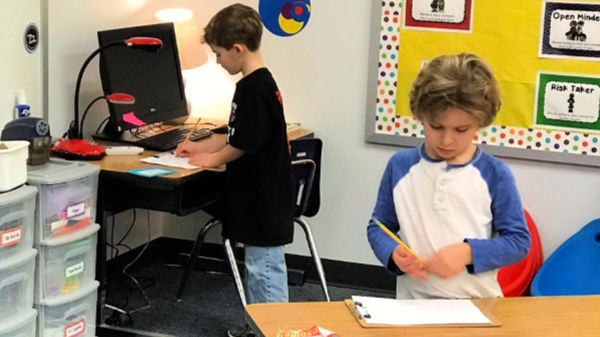 First graders do a time-telling exercise