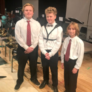 Three students at Jazz event