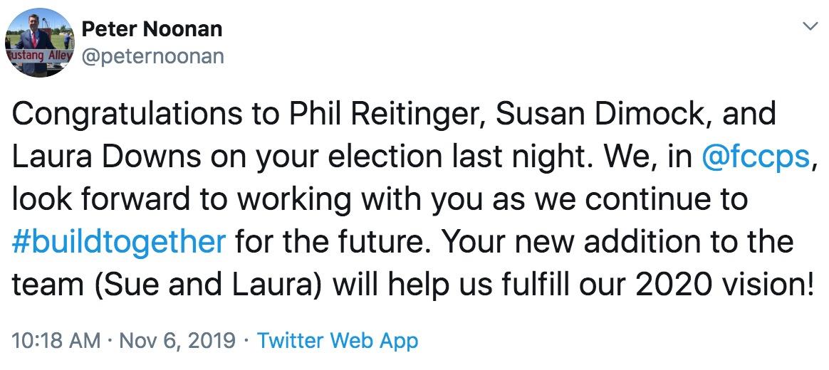 peter noonan tweet congratulating newly elected school board members