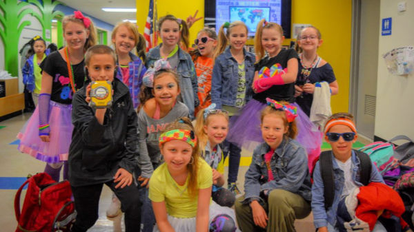 Students dressed up for 80s Day at TJ