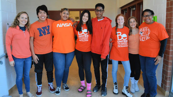Students and staff ready for Unity Day with orange shirts