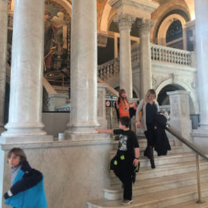 Heading down the grand staircase