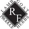 Black and white Red Range Farm logo square on diagonal wiht lamb/goat/produce/herbs around edges
