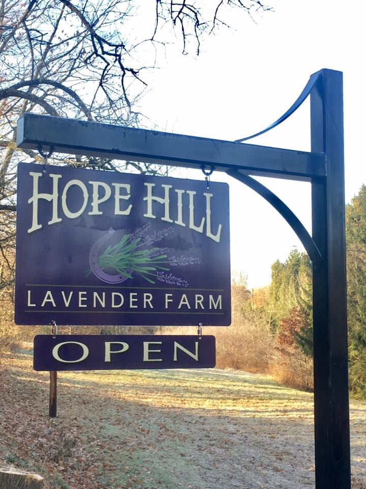 Wooden sign on post for Hope Hill Lavender Farm