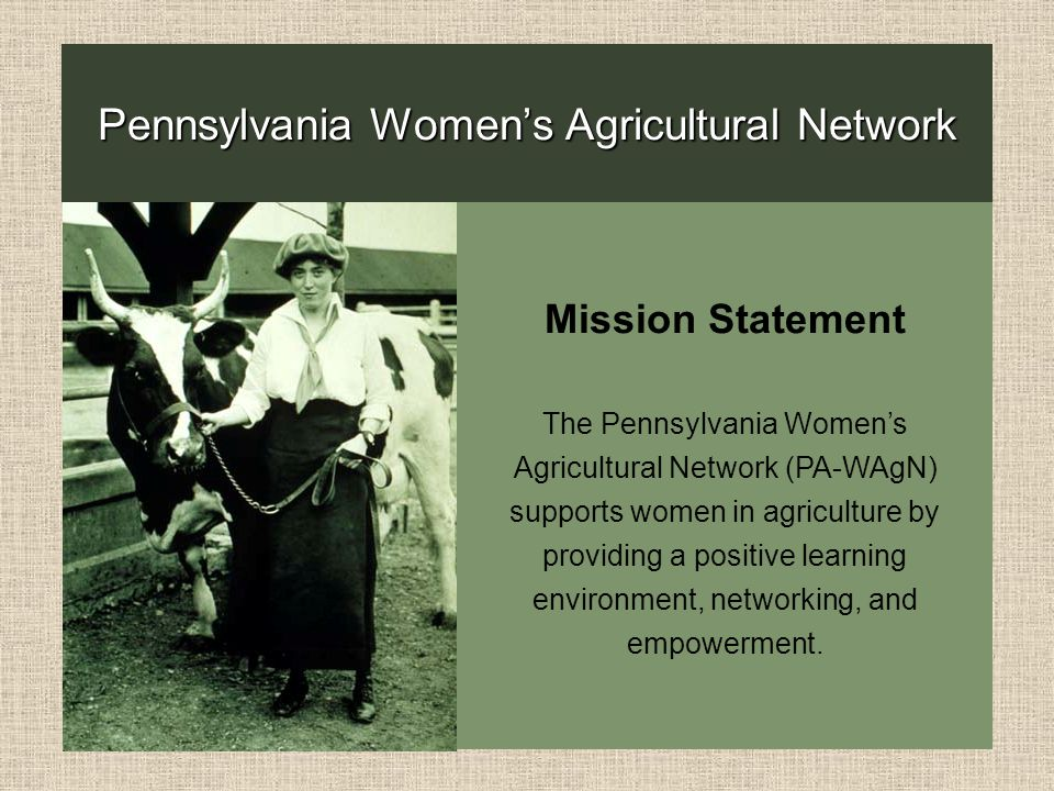 Photo of woman leading a cow with description of PA Women in Agriculture Network mission statement