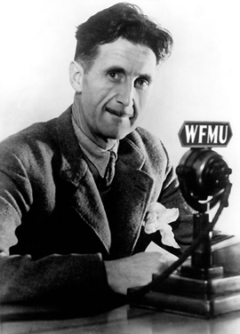 Picture of George Orwell with a WFMU Microphone