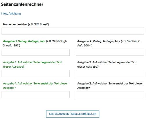 Screenshot: Eingabeformular des Seitenzahlenrechners