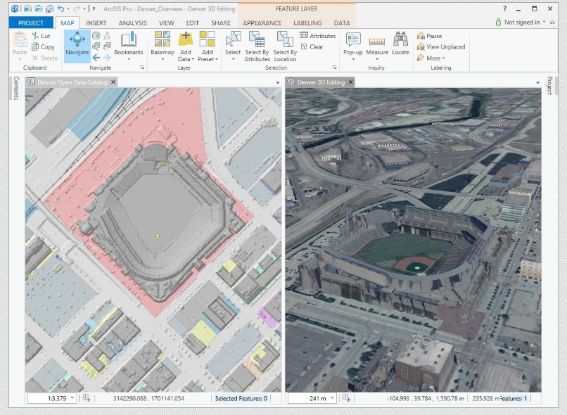 ArcGIS Pro side by side view of Map and Scene