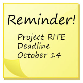 Project RITE deadline October 14 post it note reminder