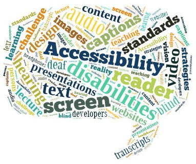 World in shape of speech bubble with Accessibility, disabilities, text, video, etc.