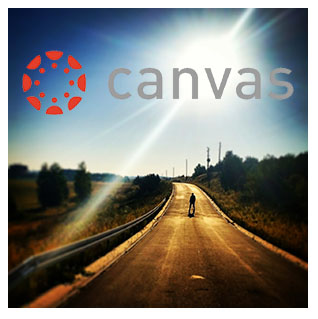 Canvas logo as destination on road with sun in the back
