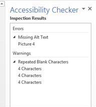 Accessibility Checker Error Results